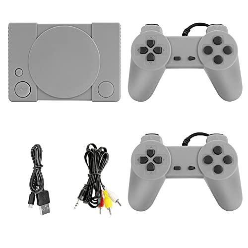LINGSFIRE Console di gioco retrò, Mini console di gioco PS1 con 851 giochi incorporati, console di gioco classica anni '80 rossa e bianca con adattatore per controller per 2 giocatori