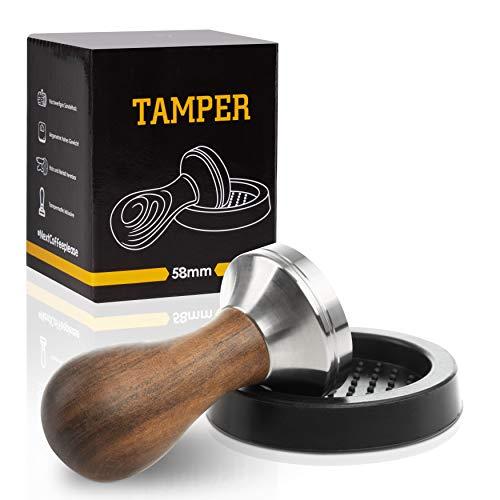 NOUTEN Premium Espresso Tamper Set 58mm - Kaffeestampfer aus Edelstahl mit einem elegant geformten Echtholzgriff – Espresso Stempel für den vollmundigen Genuss - Passende Tampermatte inklusive