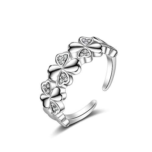 Hootiny Ring, 925 Sterling Silber Schmuck Female Four-Leaf Clover Diamond Open Ring Accessoires Gedenken Birthday Gift Schmuck Mode Ideen