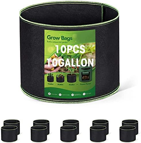 HOUSE DAY Bolsa de Cultivo (Paquete de 10) - 45 litros / 10 galones Maceta de Cultivo con asa Negro...