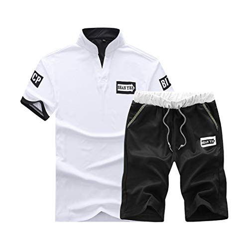 xzbailisha Mens 2 Piece Outfits Sportswear Short Sleeve Shirt and Shorts Set Joggers Tracksuit White