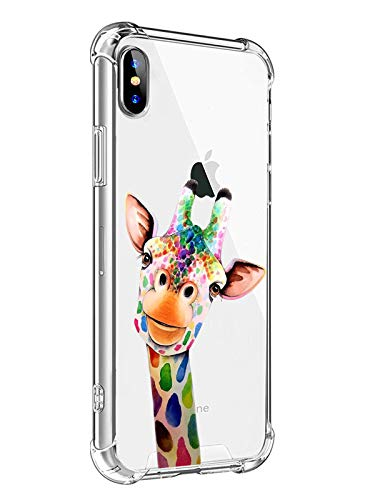 MAYCARI for iPhone SE 2020/iPhone 7/iPhone 8 Case Giraffe Phone Case, Cute Animal Design Soft & Flexible TPU Shockproof Transparent Bumper Protective Cover Case