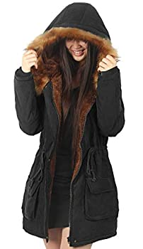 iLoveSIA Womens Hooded Coat Faux Fur Lined Jacket Black 10