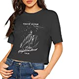 Troye Sivan Crop Top Womens Dew Navel T-Shirt Casual Cotton Blouse with Short Sleeve S Black