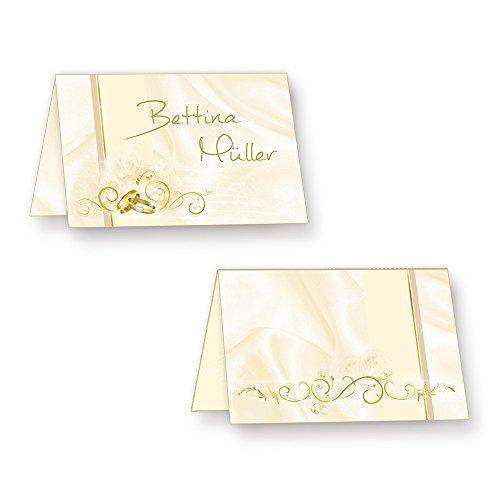 Tischkarten Hochzeit PERLMUTT (40 Stück) hinreissend schöne Platzkarten mit Ringen & Ranken - inkl. Gold-Lackstift zum Beschriften!