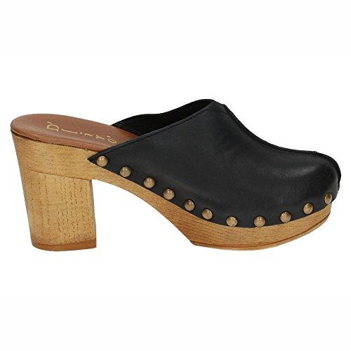 DLIRO 825 Zueco Piel Tachuelas Mujer Sandalias TACÓN Negro 37