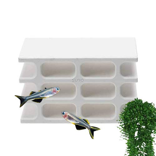 Saim White Aquarium Ceramic Shrimp Shelter Decoration Fish Breeding Cave Fish Tank Ornaments Hiding Hollow House