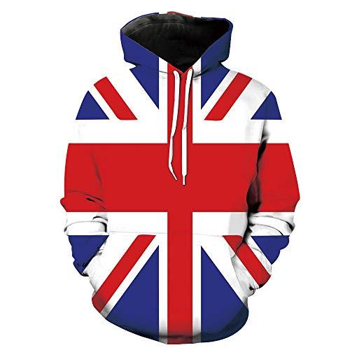 Unisex Hoodie 3D Print Union Jack Classic Kingdom Sherpa Lined Fleece Sweatshirt Size M