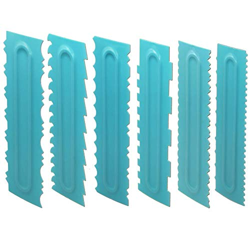 Suading Raspador de pasteles, peine de glaseado de plástico más suave pulidor de dientes de sierra, herramientas de pastel de crema de mantequilla de mousse (6 unidades)