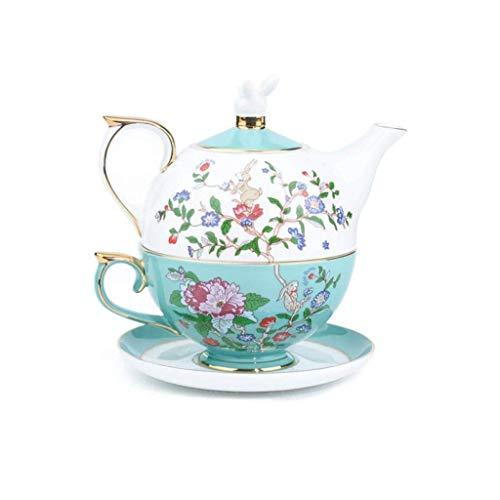 PIVFEDQX Juego De Té/Café De Porcelana De Hueso Exquisito Estampado Floral Azul Estilo Pastoral Europeo para La Familia para El Hogar