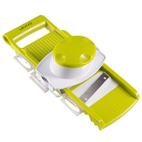 Levivo Cortador de verduras / rallador universal con 5 accesorios, rallador de verduras, rallador, rallador de pepino, rallador con protección para dedos, rallador de cocina, blanco/verde