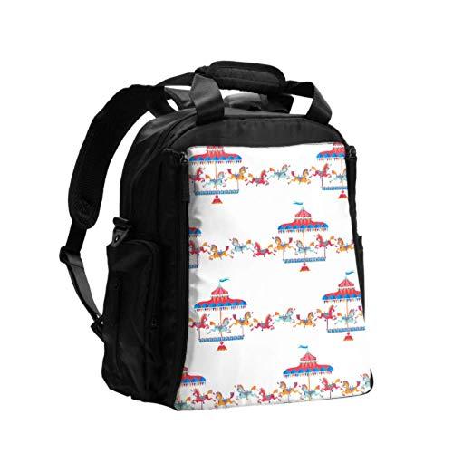 Mamá Bolsa de pañales Mochila Parque de atracciones Parque de diversiones Tiovivo Bolsas para cambiar pañales Mochila de viaje multifunción con almohadilla para cambiar pañales para el cuidado del be