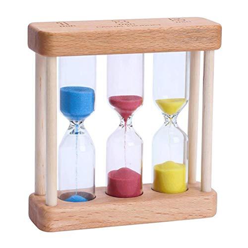 VOSAREA Holz Sanduhr 1 3 5 Minute Sand Hourglass Sandglass Timer Tischdeko für Spiele Kochen Maske Office Yoga Spielen Zähneputzen (Bunt)