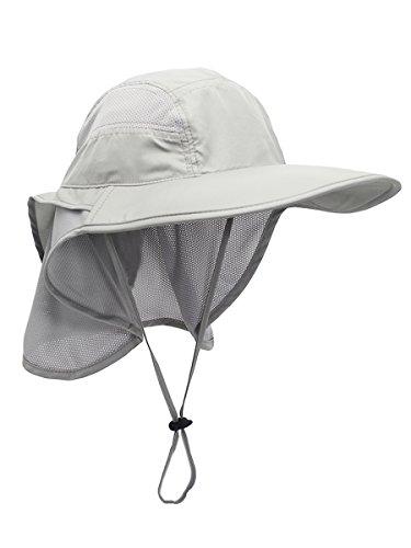 Unisex Gorra de Safari con Extra Largo Protector de Nuca 12cm Gran Borde para Actividades al Aire Libre Sol Protección UV - Gris Claro