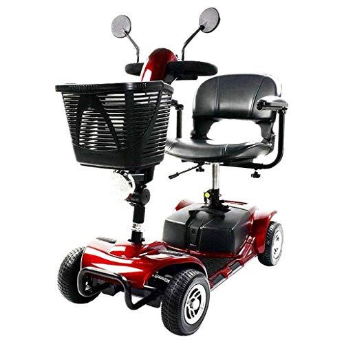 AMINSHAP Draagbare mobielstep, heavy duty mobility scooter, 4-wiel-elektrisch voertuig, met basket LED-lampen en 43 cm zitting, opvouwbaar, gemakkelijk voor volwassenen senioren en Medical Ed, rood