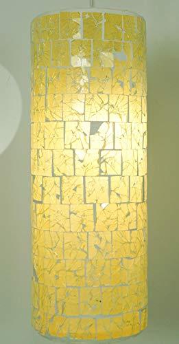 Guru-Shop Plafondlamp/Plafondlamp Miraflor, Handgemaakt in Bali, Glasvezel met Glasmozaïek, Crèmewit, 30x12x12 cm, Klassiek Moderne Plafondarmaturen