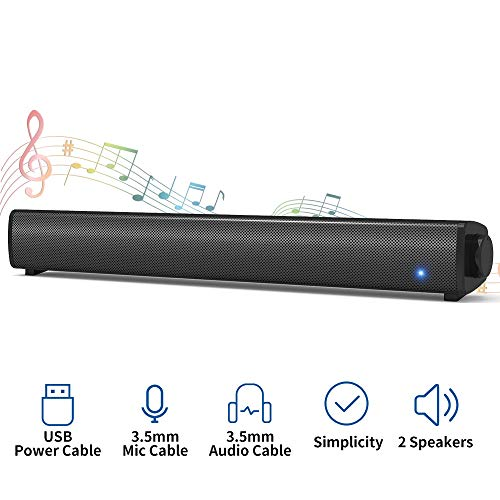 Bluetooth Computer Speaker, Wired Sound Bar for PC, Stereo USB Powered Mini Computer Soundbar Speaker for PC Cellphone Tablets Desktop Laptop (Silver)