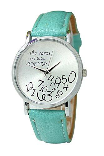 Reloj de pulsera - SODIAL(R)Reloj unisex con 'who cares, I'm late anyways' y Reloj de pulsera de cuero de numeros arabes Reloj analogo de cuarzo Verde menta