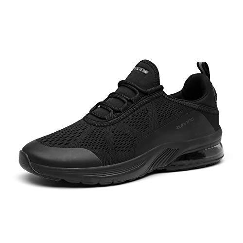 FOGOIN Laufschuhe Herren Damen Sportschuhe Sneaker Atmungsaktiv Leichtgewichts Turnschuhe Straßenlaufschuhe Trainer, 43 EU, Schwarz