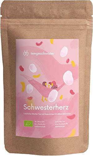 BIO Schwester-Herz | Weißer Tee mit Erdbeerstückchen und Rosenblüten | Geschenk-Idee für deine Schwester oder beste Freundin | teegeschwister | 85g