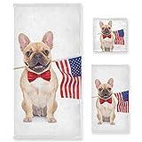 Juego de Toallas de baño de Lujo de algodón de 3 Piezas para Mujeres, Hombres, baño, Cocina, 1 Toalla de baño, 1 Toalla de Mano, 1 toallitas, Bandera de Bulldog Francés, Animal