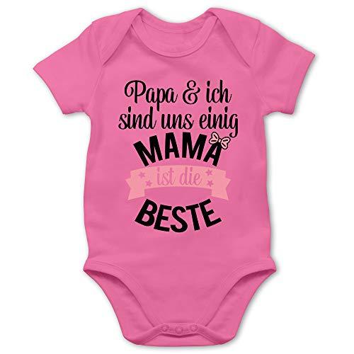 Muttertagsgeschenk Tochter & Sohn Baby - Mama ist die Beste - rosa schwarz - 6/12 Monate - Pink - Mama - BZ10 - Baby Body Kurzarm für Jungen und Mädchen