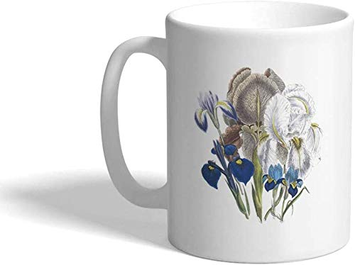 Taza de café de cerámica Iris Beautiful Vintage Flowers B Botanical & White Tea Cup, 325 ml