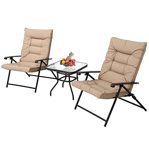 SUNCROWN Patio Padded Folding 3 Pieces Chair Set Adjustable Reclining Outdoor Furniture Metal Sling Chair with Coffee Table(Beige)