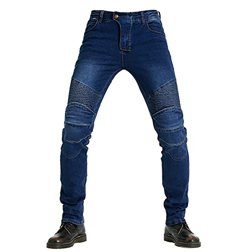 BEDSETS Vaqueros Para Montar En Moto Para Hombres, Pantalones de Ciclismo Anticaídas Elásticos Kevlar,Pantalones de Carreras Profesionales, 4 x Equipo de protección (JAZ2,S)