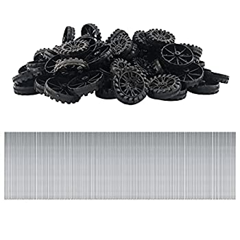 EUDAX 300 PCS 30mmx8mm Plastic Roll 2mm Dia Shaft Toys Wheel and 2mmx100mm STEM Shaft Round Rod Axles for DIY Toy RC Car Truck Boat Helicopter Model Part Building Projects  Black