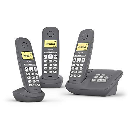 Gigaset A280A Trio 3 DECT-Schnurlostelefone mit Anrufbeantworter für beste Kommunikation mit großem Grafik-Display, perfekter Audioqualität und Freisprechfunktion - Made in Germany, Grey