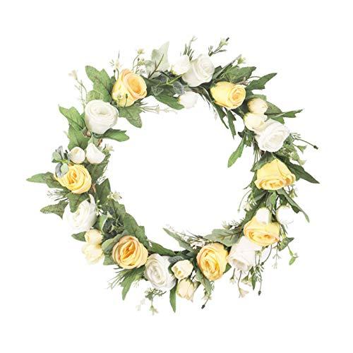 Guirnalda de rosas, guirnalda hecha a mano eucalipto lirio rosa floral artificial simulación flores guirnalda colgante estilo europeo pared puerta ornamento guirnalda para fiesta hogar boda decoración