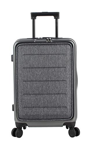 Andiamo Elegante Built-in TSA Lock Suitcase - Small 20 Inch Hardside Carry On Bag- Lightweight (PC+EVA Film) Luggage With 8-Rolling Spinner Wheels (Dark Grey)