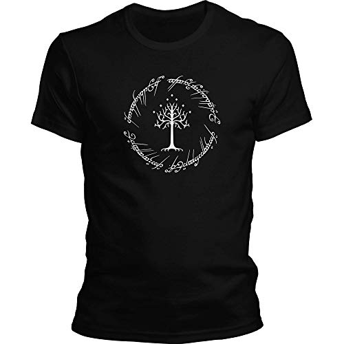 DragonHive Herren T-Shirt Herr der Ringe Shirt LOTR Hobbit Logo 2, Größe:XS, Farbe:Schwarz