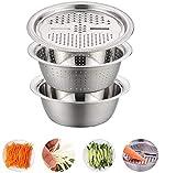 DFG 3 en 1 Acero Inoxidable Colador y Rührschüssel Gemüseschneider Set,Küchen-Mehrzweckreibe Küchen-Siebeb Salat Schüsselset Stapelbar Set