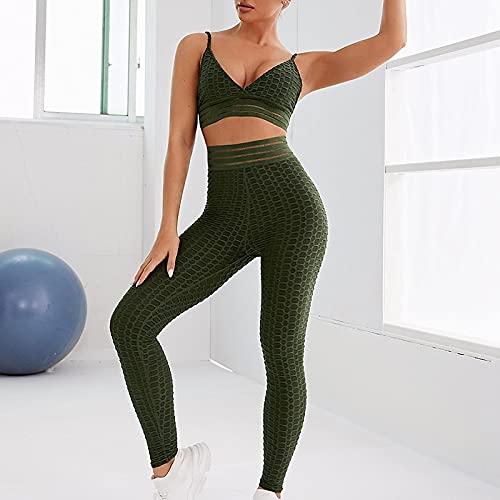 A/X per Donna 2 Pezzi Tuta da Yoga EsercitoYoga Tuta Sportiva Sollevamento Sportivo Traspirante Potenza Flex Elevata Elasticità/Athleisure