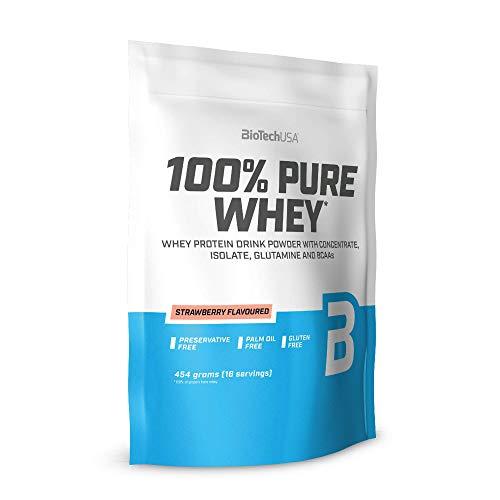 BioTechUSA 100% Pure Whey Premium Protein Isolat Pulver mit zusätzlichen Aminosäuren, glutenfrei, palmölfrei, aspartamfrei, 454g, Erdbeere