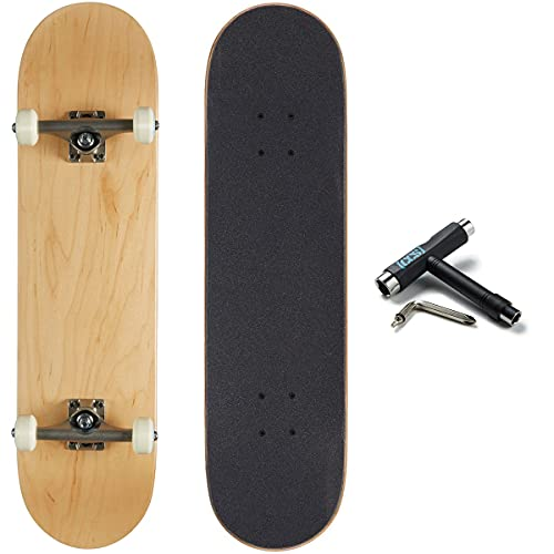 [CCS] Blank Skateboard Complete - Maple Wood - Professional Grade - Fully Assembled with Skate Tool and Stickers - 8.00' x 32.00' (Natural Wood, 8.00')