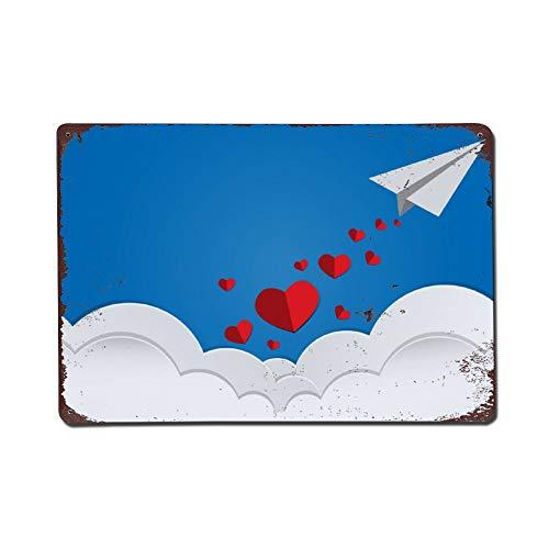 happygoluck1y Valentijnsdag harten vallen uit papier vliegtuig vintage retro metalen tekenen muur kunst tin teken plaque vanetines dag geschenken voor jongens voor hem meisjes vrouw geschenken