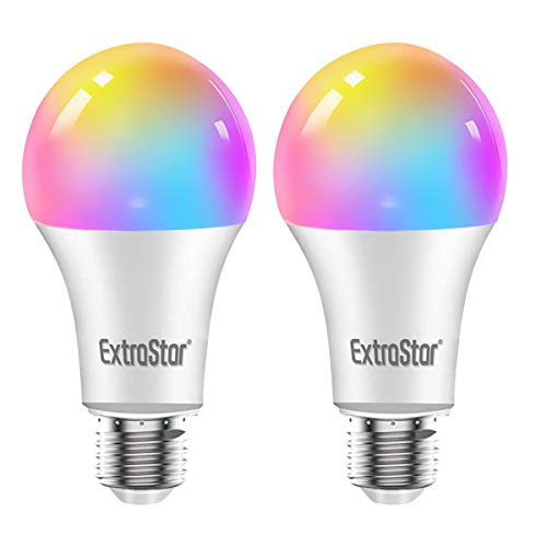 Bombilla LED Inteligente WiFi,Extrastar 2 Pack 10W E27 1000 Lm Bombilla LED Luces Cálidas/Frías & RGB, Lámpara WiFi Funciona con Alexa (Echo, Echo Dot) Google Home [Clase de eficiencia energética A+]