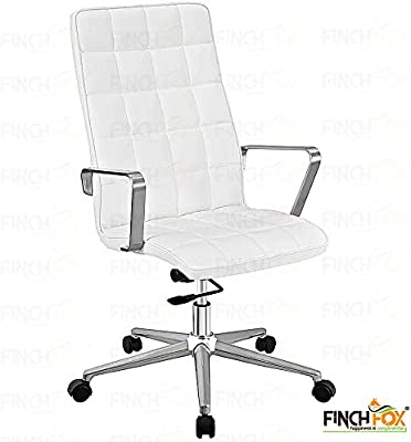 Finch Fox High Back PU Leatherette Executive Chair/Conference Chair/House Chair/Desk Chair/Employee/Home Chair/Doctors/Office Chair in (White) Color with 1 Year Warranty