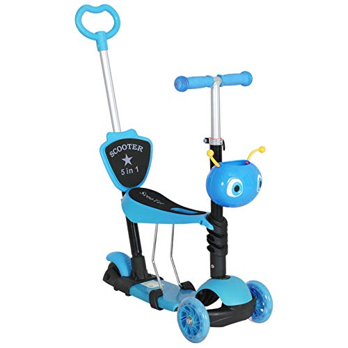 HOMCOM 3 en 1 Patinete para Niños de +1 Año Scooter de 3 Ruedas con Asiento Extraíble Manillar Mango de Empuje Altura Ajustable 62x25x72,5 cm Azul