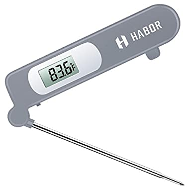 Meat Thermometer, Habor Instant Read Thermometer Accurate Cooking Thermometer Kitchen Thermometer with Digital LCD, Fordable Long Probe for Food Christmas Turkey, Candy, Cake, Milk, BBQ Grill Smokers