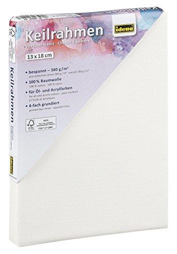 Idena 60029 - Keilrahmen mit Leinwand aus 100{71275f6b4646015fd497c14b62c647f921831c2045aebc9367a0a1277953c8d3} Baumwolle, 380 g/m², FSC zertifiziert, für Öl- und Acrylfarben, ca. 13 x 18 cm, weiß
