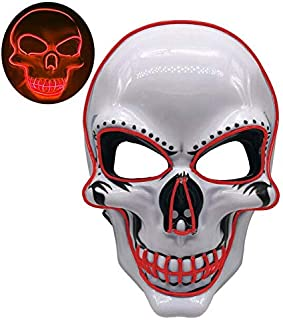 Motorcycle Face Mask - Dropship 2019 Halloween LED Face Mask Motorcycle Face Shield EL-Wire Light Up Scary Mask Glow in The Dark Warmer Mask Motocross (Purple)
