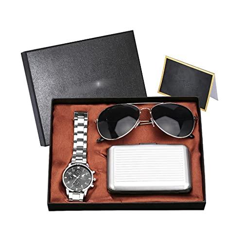 Diaod Conjunto de Reloj para Hombre Reloj de Pulsera de Cuarzo Estuche para Tarjeta de crédito Gafas de Sol Conjunto de Regalo Cumpleaños Acción de Gracias (Color : Natural)