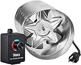 iPower 4 Inch 100 CFM Booster Fan Inline Duct Vent Blower with Variable Speed Controller Adjuster, Silver