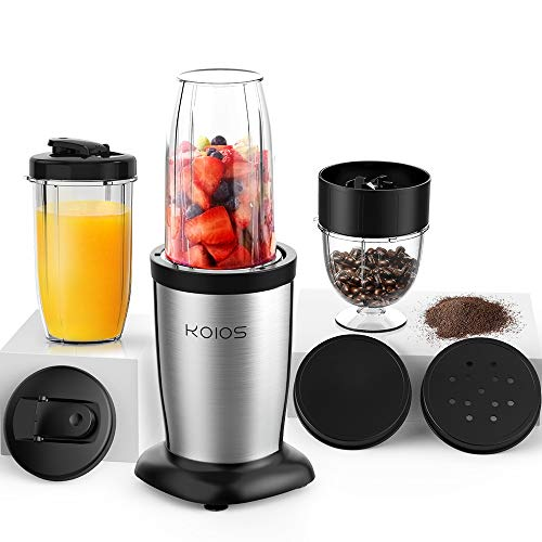 KOIOS 850W Personal Blender for Shakes and Smoothies, 11 Pieces Bullet Single Smoothie Blender for Kitchen, Small Protable Mixer with 2x17 Oz and 10 Oz Travel Bottles, 2 Spout Lids, BPA Free (Black)