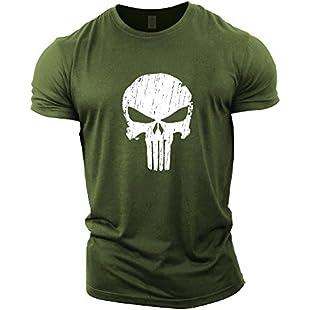 GYMTIER Mens Bodybuilding T-Shirt - Punisher Skull - Gym Training Top