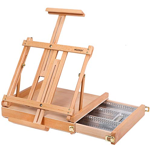 """MEEDEN Studio Sketchbox Table Easel with Metal Lined Drawer - Adjustable Solid Beech Wood Tabletop Easel & Sketchbox Artist Easel with Storage, for Studio or Plein Air - Holds canvases up to 34"""" high"""
